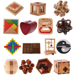Wooden Intelligence Toy Chinese Brain Teaser Game 3D Puzzle for Kids Adults Hot