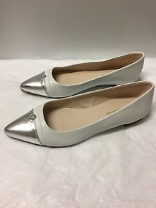 805f89cacdd515 White And Silver Leather Tommy Hilfiger Women s Flats Pointed Toe ...