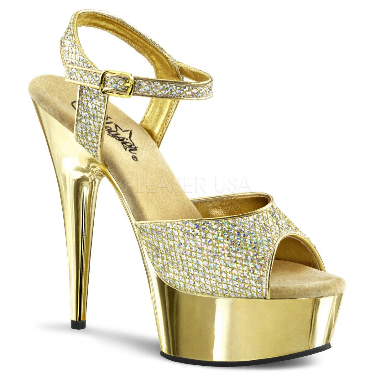 Pleaser DELIGHT-609G Platforms Exotic Dancing Gold Multi Glitter Chrome Heels