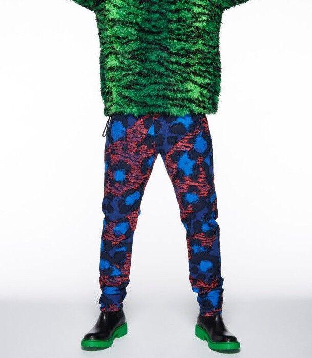 KENZO x H&M Patchwork Leopard Patterned Jeans Pants Men Unisex 29 30 33 bluee Red