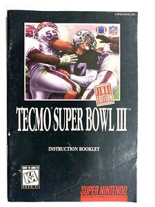 Tecmo Super Bowl III Final Edition 3 SNES Super Nintendo Instruction Manual Only