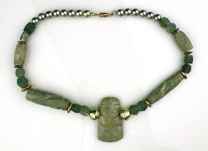 JADE-BEAD-NECKLACE-WITH-PRE-COLUMBIAN-OLMECOID-AXE-GOD