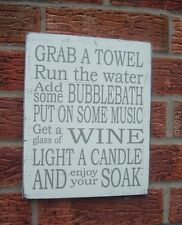 shabby & chic vintage bathroom grab a towel wine candle music relax sign plaque