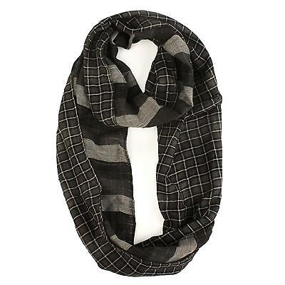 Men's Light Soft Preppy 2 Sided Plaid Cowl Long Circle Loop Infinity Scarf Black
