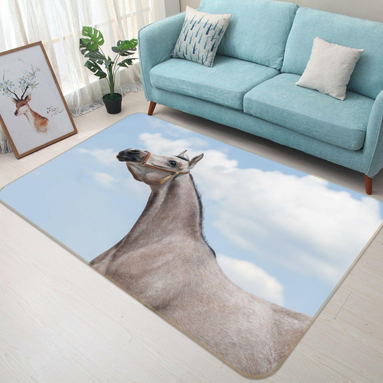 3D bianca Clouds Horse C313 Animal Non Slip Rug Mat Elegant Photo Carpet Zoe