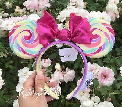 Disney Snacks Candy Sugar Rush Pink Pastel Swirl Lollipop Minnie Ears Headband