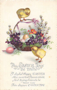 R318567 All Easter Joys be Thine. A Joyful Happy Easter. Basket with eggs and li