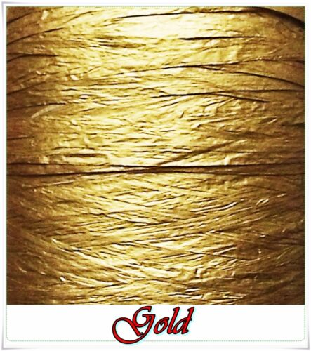 Metallic Raffia Ribbons Gold Silver Paper Festive Decoration Gift Wrapping