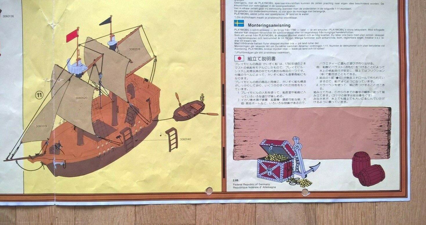 PLAYMOBIL 3550 Bateau Pirates Notice Instruction de montage VINTAGE RARE