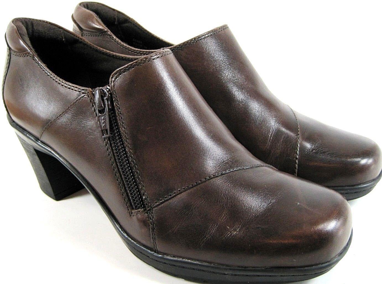 Clarks Damens Booties Größe 7.5 Braun Style 80483 Three Inch Heels