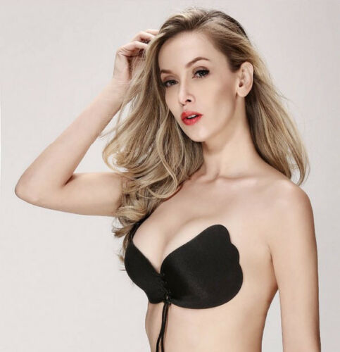WOMENS SILICONE ADHESIVE PUSH UP STICK ON BRA STRAPLESS BACKLESS TIE INVISIBLE