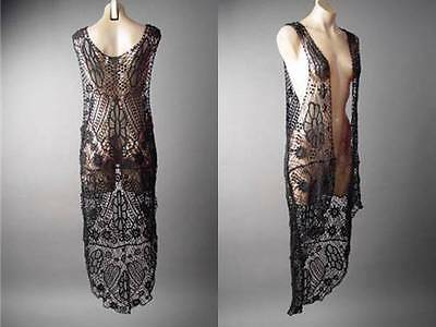 Hippie Boho 70s Gypsy Black Crochet Doily Lace Long Maxi Duster 124 mv Vest OS