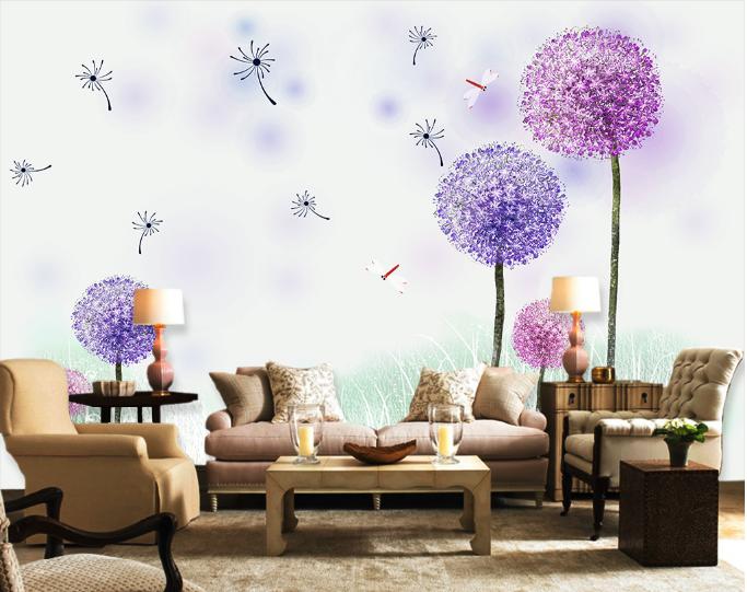 3D lila Dandelions 7 Wall Paper Murals Wall Print Wall Wallpaper Mural AU Kyra