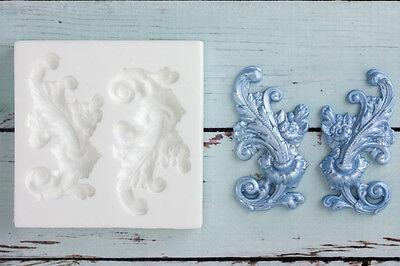 Silicone Mould,Decorative Scrolls, Left & Right Flourish, Ellam Sugarcraft  M158