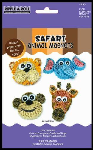 Quilled Creations Corrugated Cardstock Quilling Kit ~ SAFARI Animal Magnets ~433