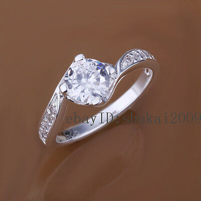 925 Sterling Silver 18K Plated Platinum 1 CT CZ Crystal Women's Ring CR148