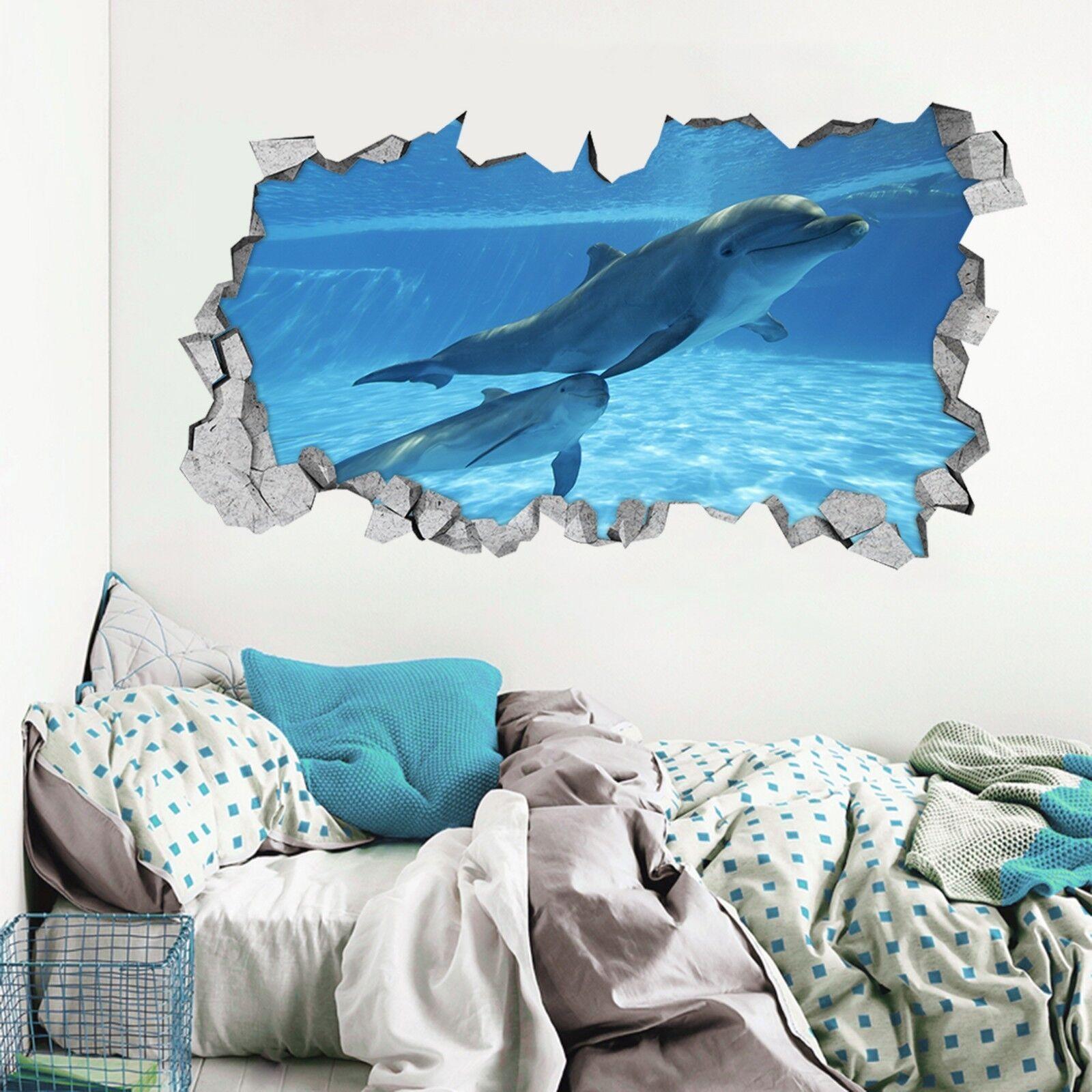 3D Angenehme Delfine 3 Mauer Murals Mauer Aufklebe Decal Durchbruch WALLPAPER DE