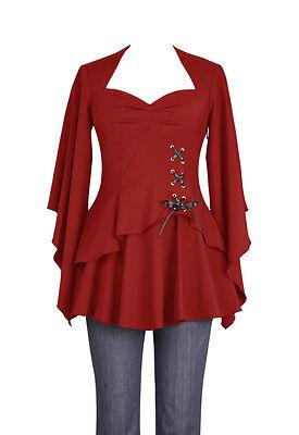 Plus Size Red Gothic Kimono Sleeve Sweetheart Side Corset Top  1X 2X