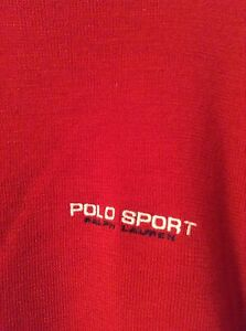 Vintage Polo Sport Logo Red Wool Sweater Men's Large Ralph Lauren