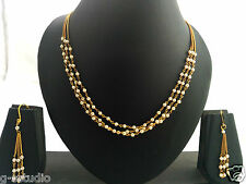 one gram gold plated plearl necklace chain with red green beads and earrings