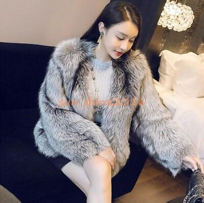 Luxury Outwear Womens Silver Fox Fur Coat Warm Hot Short Jacket Round Collar