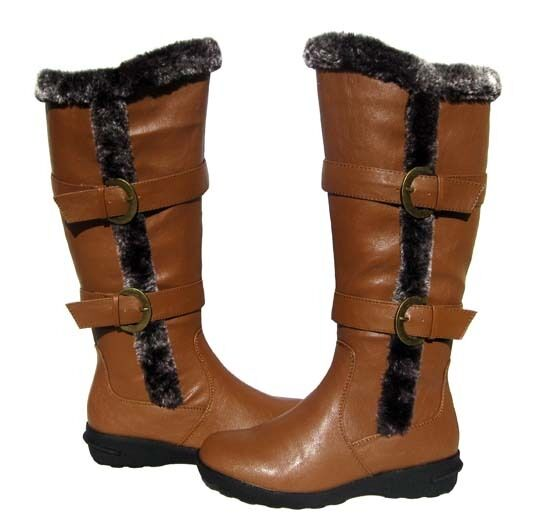 New Women's BOOTS Knee High Winter Fur Lined Snow Brown Tan shoe Ladies size 6.5