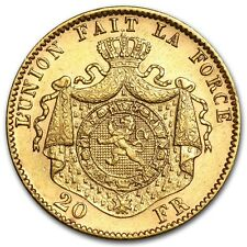 Belgium Gold 20 Franc Coin - Random Year - AU - SKU #44328