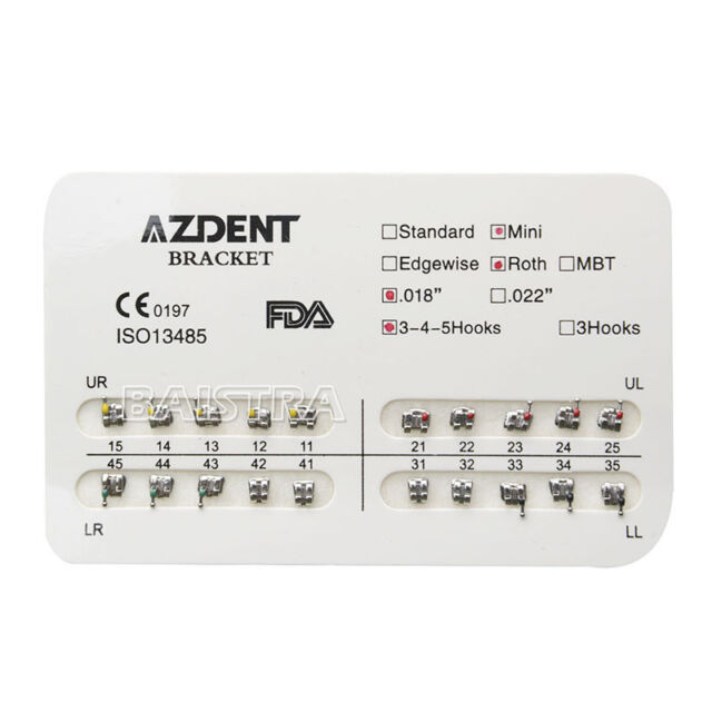 20pcs/pack Dental Orthodontic Bracket Braces Mini Roth 018 Hooks 3-4-5 AZDENT