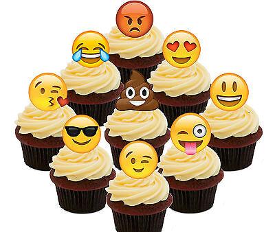 Emoticon emojis Cupcake Topper 12 Pack Cupcake Topper Decoration Cake Gold