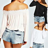 Womens Gypsy Long Sleeve Off Shoulder Frill Shirred Casual Tops Blouse Tee Shirt