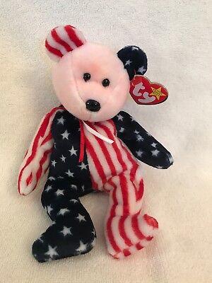 Ty Beanie Baby Spangle MWMT Patriotic Bear Blue Head 1999