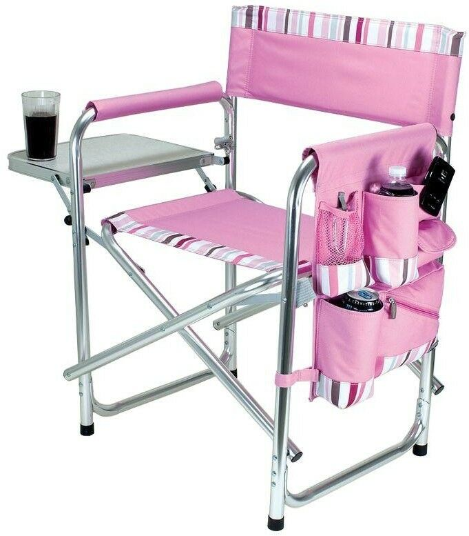 Durable Portable Pink Sports  Folding Aluminum Frame Patio Chair with Stripes  after-sale protection