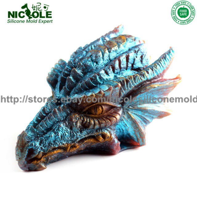 3d Dragon Head Silicone Soap Molds Candle DIY Tools Chocolate Fondant Cake  Candy