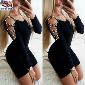 US-Womens-Beaded-Cold-Shoulder-Long-Sleeve-Mini-Dress-Ladies-Party-Bodycon-Dress