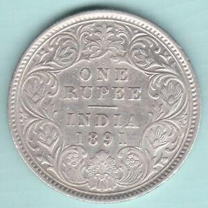 BRITISH INDIA 1891 VICTORIA EMPRESS SILVER RUPEE