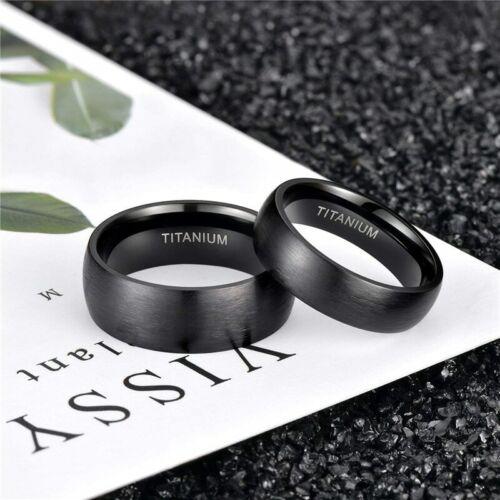8MM Negro Plata Acero Inoxidable Hombres Mujeres Anillo de bodas anillo tamaños de 6 a 13