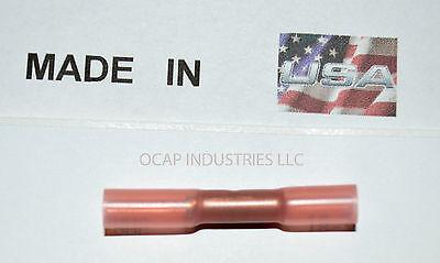 (100 PCS) RED 3M HEAT SHRINK BUTT WIRE CRIMP CONNECTORS ELECTRICAL TERMINALS USA