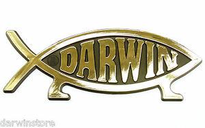 Gold darwin fish car emblem badge decal symbol plaque ebay for Fish symbol on cars