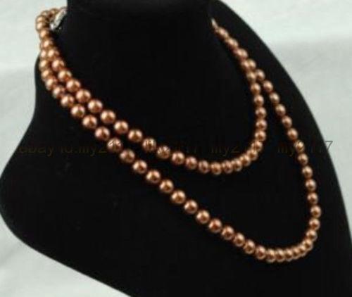 "8-9 MM Véritable Naturel Café Akoya Freshwater Cultured Pearl Perles Collier 35/"""