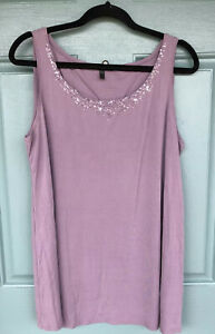 Eileen-Fisher-Women-039-s-Large-Light-Purple-Tank-Top-Blouse-100-Silk-Embellished