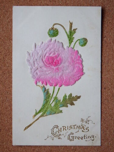 R&L Postcard Christmas Greetings Embossed Flower