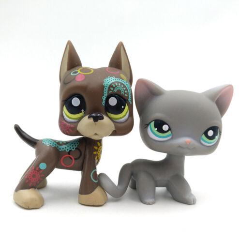 2pcs #126 #1439 Grey Cat Girls Toys Littlest Pet Shop Figure Tattoo Dane Dog LPS