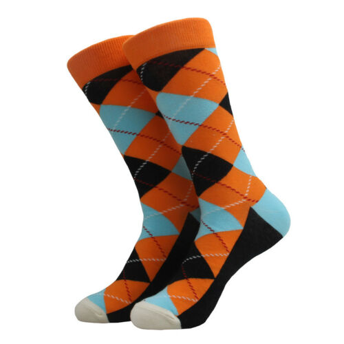 5 Pairs Mens Cotton Socks Lot Colorful Argyle Fashion Casual Long Socks Sox 9-12