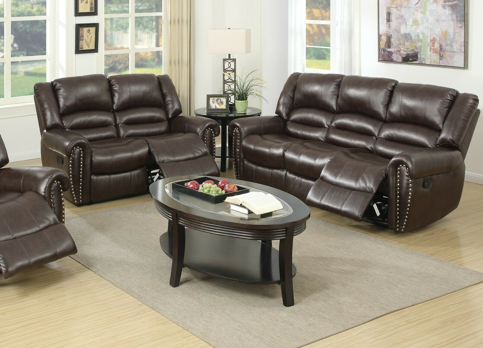 Brown Bonded Leather Reclining Sofa