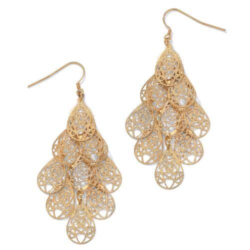 Yellow Gold Tone Filigree Chandelier Earrings