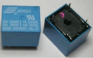 5PCS New Original SRD-06VDC-SL-C 6V SONGLE Power Relays 6-Pin