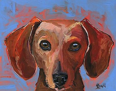 Dachshund Dog 11x14 signed art PRINT from painting RJK