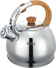 Whistling Kettle 2 L Stainless Steel Camping Silver/  BROWN / easy open / SATIN