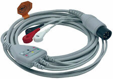 Ekg Ecg Cable 3 Lead Wire Snap Type For Patient Monitors 6 Pin Aha Warranty 9ft