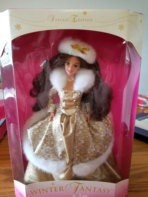 1995 WINTER FANTASY SPECIAL EDITION BRUNETTE BARBIE NIB MINT GOLD GOWN GORGEOUS!